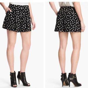 Rebecca Taylor Polka Dot Pleaded Silk Shorts